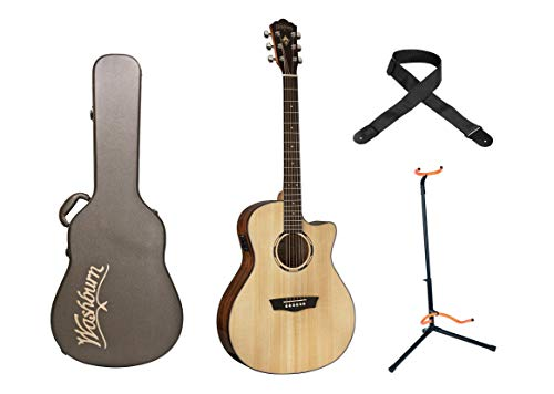 Washburn Woodline 10 Series Acoustic-Electric Guitar - Orchestra+Washburn Deluxe Hardshell Acoustic Orchestra Guitar Case+ Stageline Guitar Stand+ Levy's Woven Poly Guitar Strap