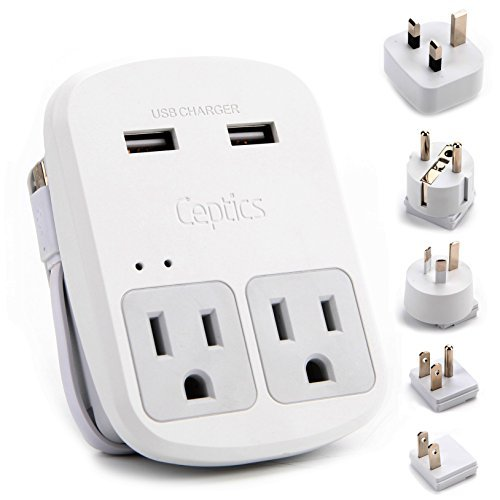 Ceptics World Travel Adapter Kit - 2 USB + 2 US Outlets, Includes Adapter for Europe, UK, China, Australia, Japan- Perfect for Laptop, Cell Phones & Other Dual Voltage Devices (Uk Phones Mobile)