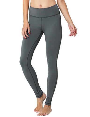 BALEAF Women's Fleece Lined Winter Leggings Thermal Yoga Pants Inner Pocket Grey Size XXL