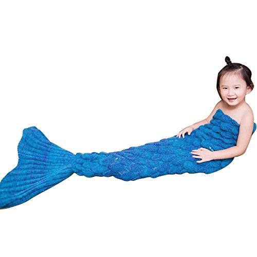 RGTOPONE 55''X27.5'' Handmade Knitting Mermaid Tails Blanket Cute Sleepping Bags Super Soft And Warm Sleepover Cover All Season Funny Gift For Child Kids Newborn (one size, Blue) - Abilene Furniture Set