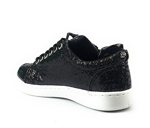Forever Link Damen Peggy 44 Glitter Metallic gesteppte Schnürschuhe Low Top Fashion Sneaker Schwarz**