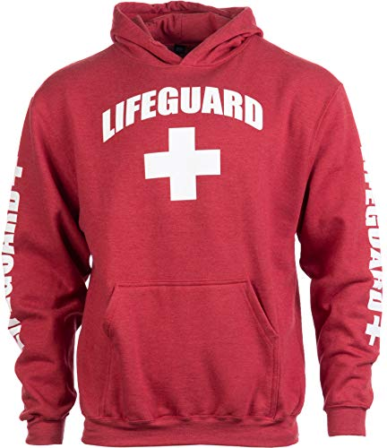 Lifeguard | Red Unisex Uniform Fleece Hoody Sweatshirt Hoodie Sweater Men Women - Hood,S ()