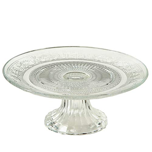 WHW Whole House Worlds Crosby Street Cake Stand, Pedestal Plate, Vintage Style, Crystal Clear Glass, Distinct All Over Pattern, 7 Inch -