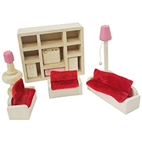 Vytung Pink Miniature Wooden Furniture for Doll House 14 Piece Lounge Room Set Kids Children Gift - Big Doll Furniture