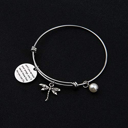 AKTAP Inspirational Jewelry Until You Spread Your Wings You'll Never Know How Far You Can Fly Dragonfly Charm Bracelet Encouragement Gifts for Her (Spread Your Wings Bracelet) by AKTAP (Image #2)