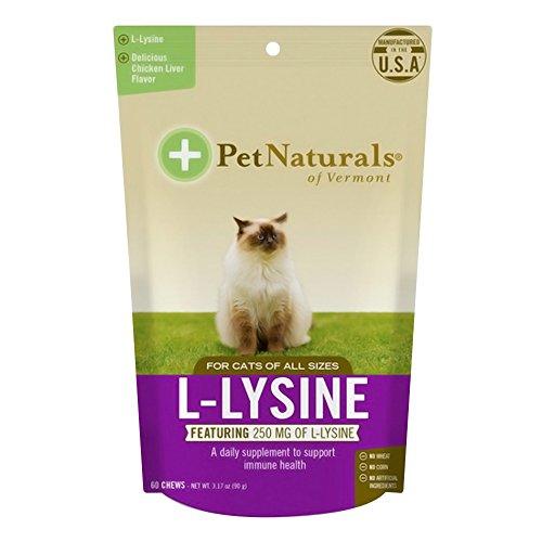 - Pet Naturals of Vermont Chicken liver flavor, L-Lysine for Cats, Chicken Liver, 60 Chews