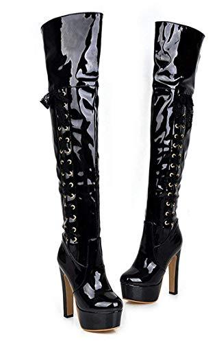 Lacets Boots Longue Aiguille Talon A Cuissarde Femme Chaussure Kittcatt Hiver Botte Vernis Noir Winter Haut Plateforme Sexy qzxvIwf