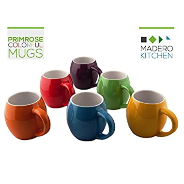 Primrose Colorful Mugs by Madero Kitchen™ - Set of 6 Ceramic Coffee Mugs Small Mouth 14oz - 100% Secure Packaging - Keep Liquid Hot for Longer