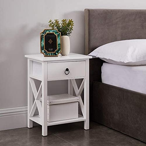 Eily Wooden Nightstand with Storage Shelf