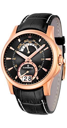Candino Day Date - Reloj analógico de caballero de cuarzo con correa de piel negra - sumergible a 100 metros: Amazon.es: Relojes
