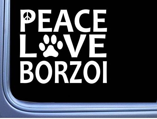 Borzoi Peace Love L647 Dog Sticker 6