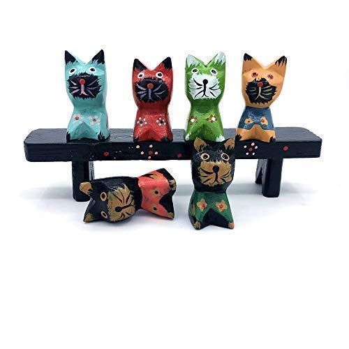 CCKANSCLE Wooden Cartoon Cat Crafts Decoration Set