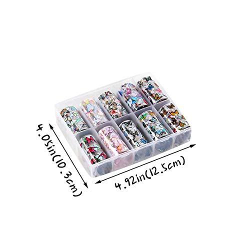 DANNIY Couleur Multiple Autocollant De Transfert D\'ongle Manucure Bricolage Romantique Fleurs Holographiques Les Autocollants d\'art D\'ongle Boutonne L\'acrylique (1#Multicolore)