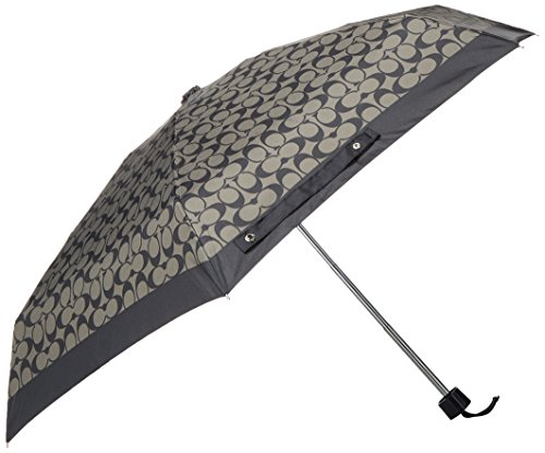 Coach Signature Mini Umbrella Silver/Black Grey/Black F63365