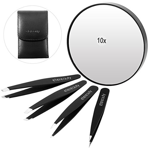 Eyebrows Tweezer, ETEREAUTY Tweezers for Ingrown Hair, Stainless Steel Tweezers Set with Travel Case and 10x Magnifying Makeup Mirror