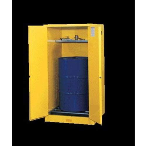 JUSTRITE MANUFACTURING 896200 Yellow 18 Gauge CR Steel Sure-Grip EX Vertical Drum Safety Cabinet and Drum Support, 2 Manual-Close Door, 55 gal Capacity, 34