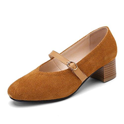 Zapatos primavera hembra la de femeninos mujeres de mujer alto del 39 baja Zapatos de Tamaño planos las Beige Pink HWF de para la Color tacón retro Zapatos la boca aqzw07