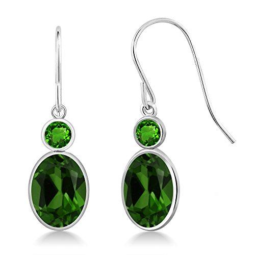 Gem Stone King 2.68 Ct Green Chrome Diopside Green Simulated Tsavorite 14K White Gold Earrings