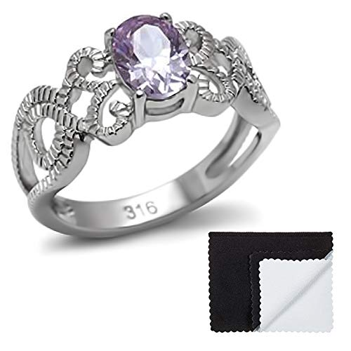 Light Amethyst Cubic Zirconia Ring - The Bling Factory Stainless Steel Light Amethyst Cubic Zirconia Intertwined Band Ring Size 8