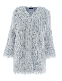 BerryGo Women's Fluffy Shaggy Long Faux Fur Coat Outwear
