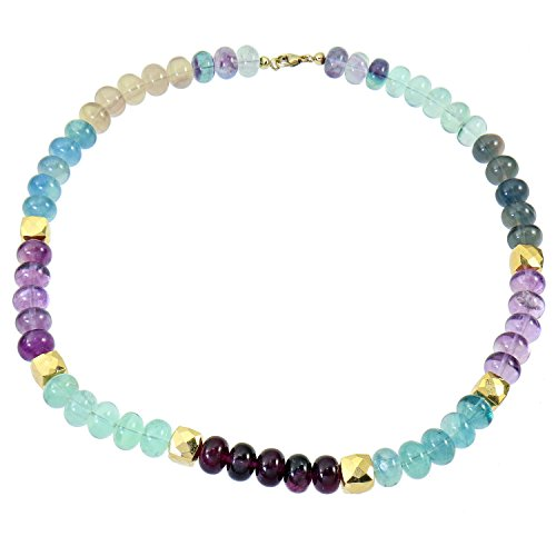 Sogni d'Oro - Collier en or jaune 375/1000 (9 carats) Fluorite Multicolore Pyrite Coated 400 Cts - 45 cm