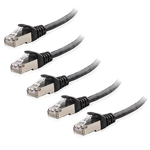 Cable Matters 5-Pack Snagless Cat 6a / Cat6a (SSTP/SFTP) Shielded Ethernet Cable in Black 14 Feet - Available 1FT - 200FT in Length ()