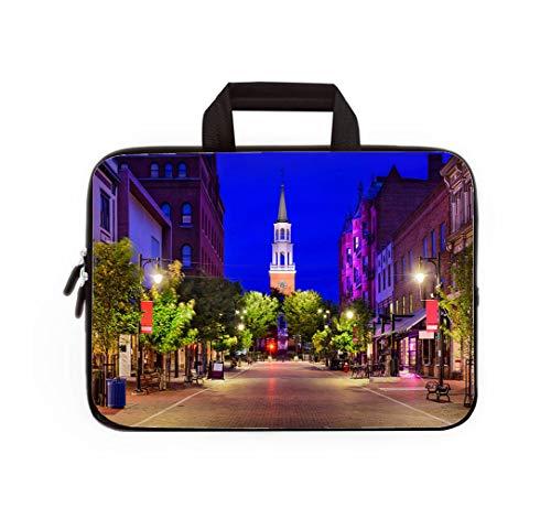 Double Zipper Laptop Bag,Church Street in Burlington Vermont,13 inch Canvas Waterproof Laptop Shoulder Bag Compatible with 11.12.6