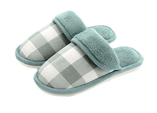 Auspicious beginning Adult Couple Indoor Closed toe Shoes Warm Lightweight Fleece Bedroom Slip-on Slipper Green DAi7x3