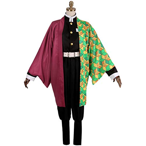 DUNHAO COS Anime Men's Demon Slayer Kimetsu no Yaiba Tomioka Giyuu Kimono Uniform Suit Cosplay Costume L Red -