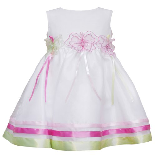 Rare Editions Baby/INFANT 12M-24M 2-Piece WHITE TRIPLE SEQUIN-BUTTERFLY ORGANZA OVERLAY Special Occasion Flower Girl Easter Party Dress