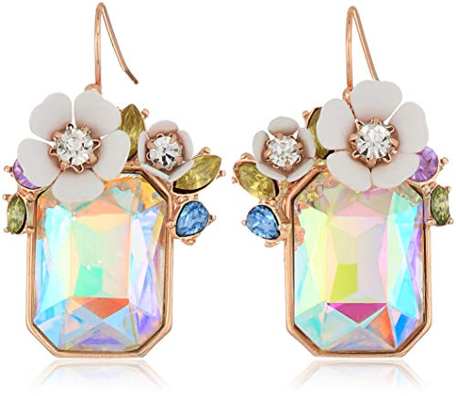 Betsey Johnson Flower Rectangle Stone Drop Earrings, White, One Size from Betsey Johnson