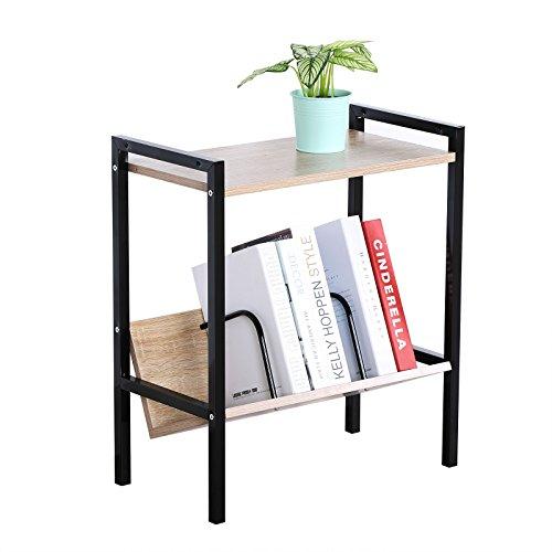 WOLTU 2 Shelf Bookcase Metal Durable Bookshelf Headboard Wood Display Rack Wood Black (Case Metal Durable)