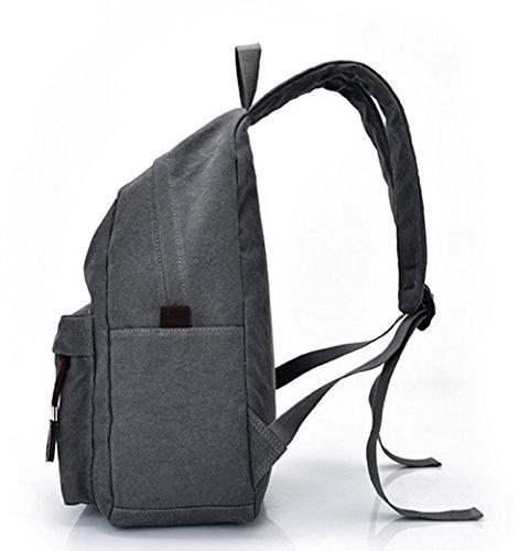 de dos Daypacks Zippers Daypack Mode Sacs Femme Odomolor Toile randonnée à Gris Bwnqf8zYxt