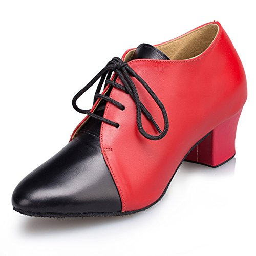Miyoopark Womens Lace-up Low Heel Leather Latin Ballroom Dance Shoes Evening Prom Pumps Red/Black-4.5cm Heel