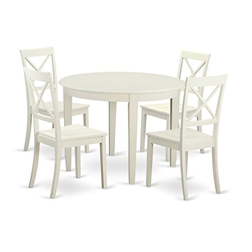 East West Furniture BOST5-WHI-W 5 Piece Table and 4 Kitchen Chairs Nook Dining Set for 4 People