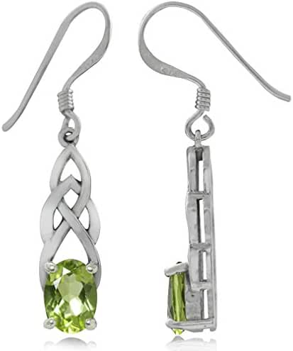 1.84ct. Natural Peridot 925 Sterling Silver Celtic Knot Dangle Earrings