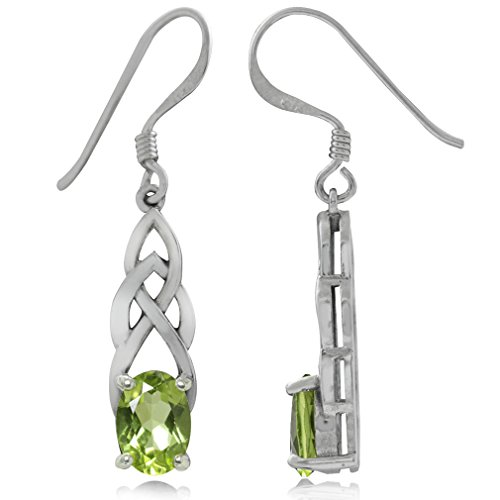 1.84ct. Natural Peridot 925 Sterling Silver Celtic Knot Dangle Earrings (Celtic Knot Peridot)