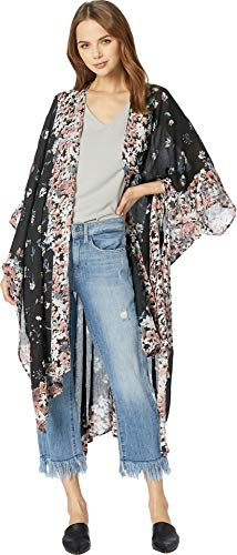 Michael Floral Print - Michael Stars Women's Rose Ruana with Anise Floral Placed Print, whisper multi One Size