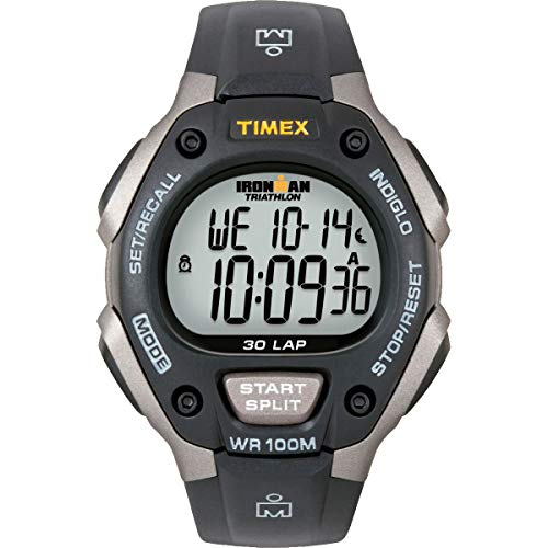 Chronograph Yellow Wrist Watch - Timex Men's T5E901 Ironman Classic 30 Gray/Black Resin Strap Watch