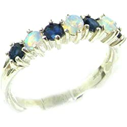 14k White Gold Natural Opal & Sapphire Womans Eternity Ring - Sizes 4 to 12 Available