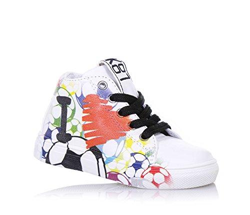 BE KOOL - Weißer Sneaker Love Soccer Baby mit Schnürsenkeln aus Leder, von der Welt der Street Art inspiriert, seitlich ein Reißverschluss, Jungen