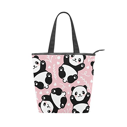 Womens Handbag Tote Shoulder Bag Pink MyDaily Cute Canvas Panda n08wSxdaq
