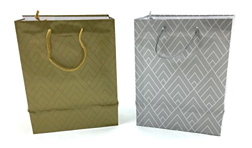 Style Design (TM) Gift Bags (Large, Gold and Silver)