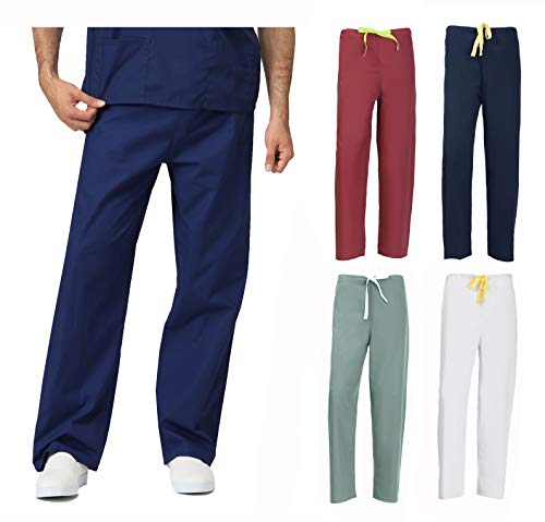 Xs Reversible Unisex Pants - MILLTEX Unisex Men Women Reversible Scrubs Pants Bottom Workwear Professionals Healthcare Medical Uniform XS-3XL (Large, White)