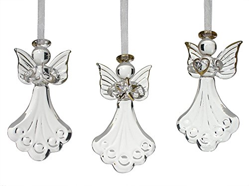 BANBERRY DESIGNS Glass Angel Ornaments - Set of 3 Mini Glass Angels - One is Praying, Holding a Heart and Holding a Star - Gold Accent Glass Ornament Set - Christmas Angels