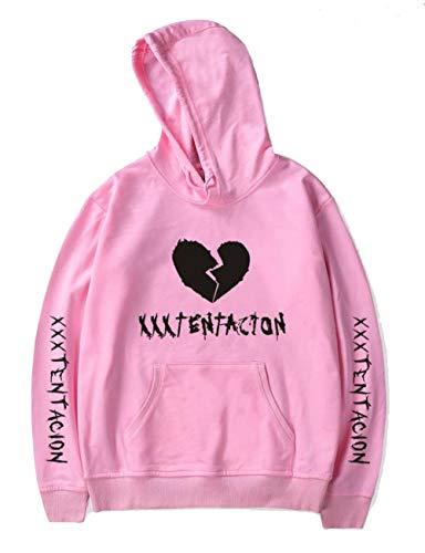 Broken Heart Shirt - Unisex Hoodie Xxxtentacion Revenge Broken Heart Hooded Sweatshirt Top (Pink Style2, Medium)