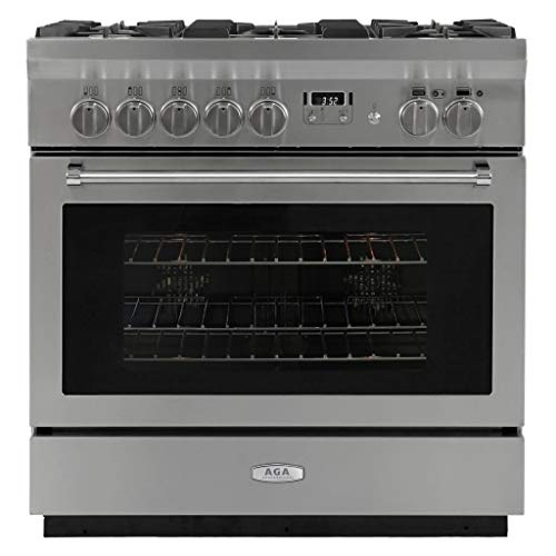Aga Dual Fuel Range - AGA AMPRO36DF-SS Professional Series 36 Inch Wide 4.9 Cu. Ft. Slide In Dual Fuel Range