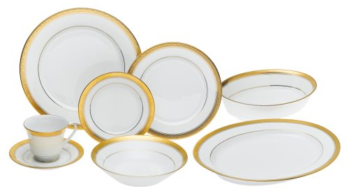 Noritake Gold Dinnerware - Noritake Crestwood Gold - 50 piece set, service for eight