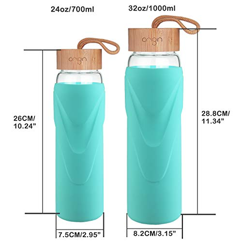 Origin Best WIDE MOUTH BPA-Free Glass Water Bottle With Protective Silicone Sleeve and Bamboo Lid Dishwasher Safe Seaside Green, 32 Ounce