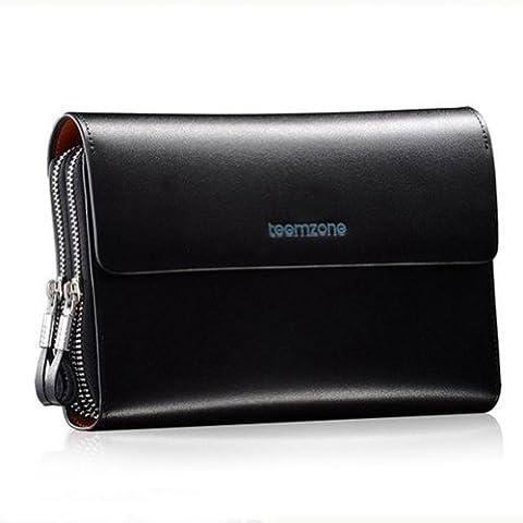Men's Genuine Leather Zipper Wallet Handbag Organizer Checkbook Purse (Grande Portafoglio)